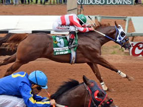Jess Good Candy winning the All American Futurity ©Ruidoso Downs